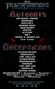 ROTF Transformers List