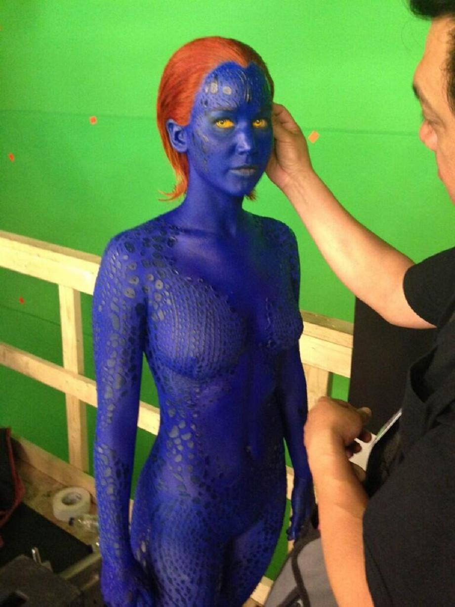 First picture of Jennifer Lawrence as a vengeful Mystique.
