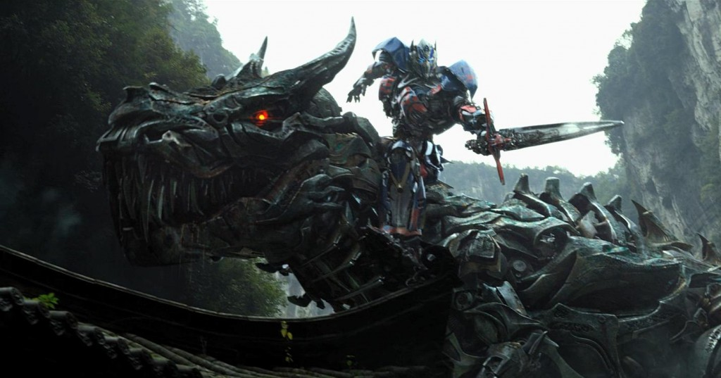 Optimus Prime riding a giant Dinosaur