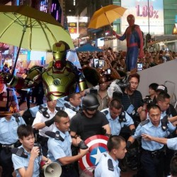 spiderman and iron man protest in hong kong
