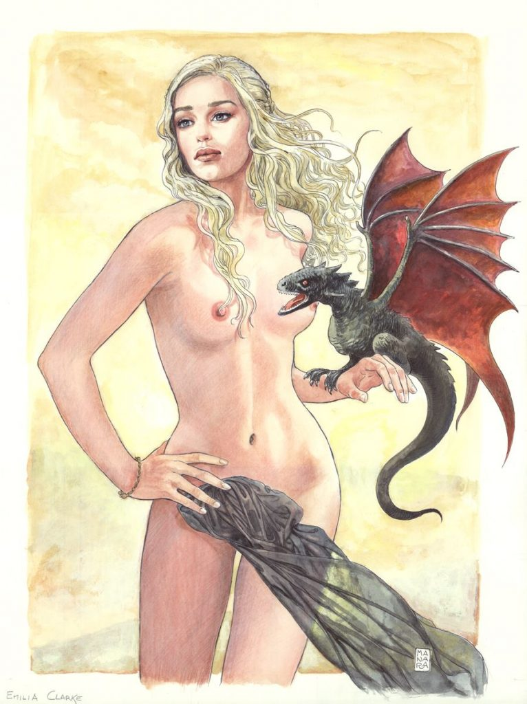Milo Manara draws Emilia Clarke as Daenerys Targaryen from Game of Thromes
