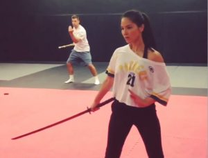 Olivia Munn x-men sword work